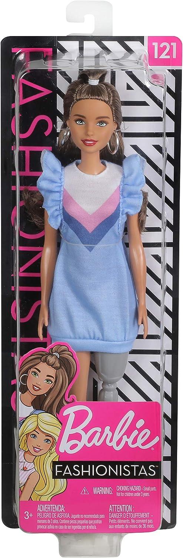 Barbie Fashionistas Bambola Castana e Protesi alla Gamba Mattel FXL54