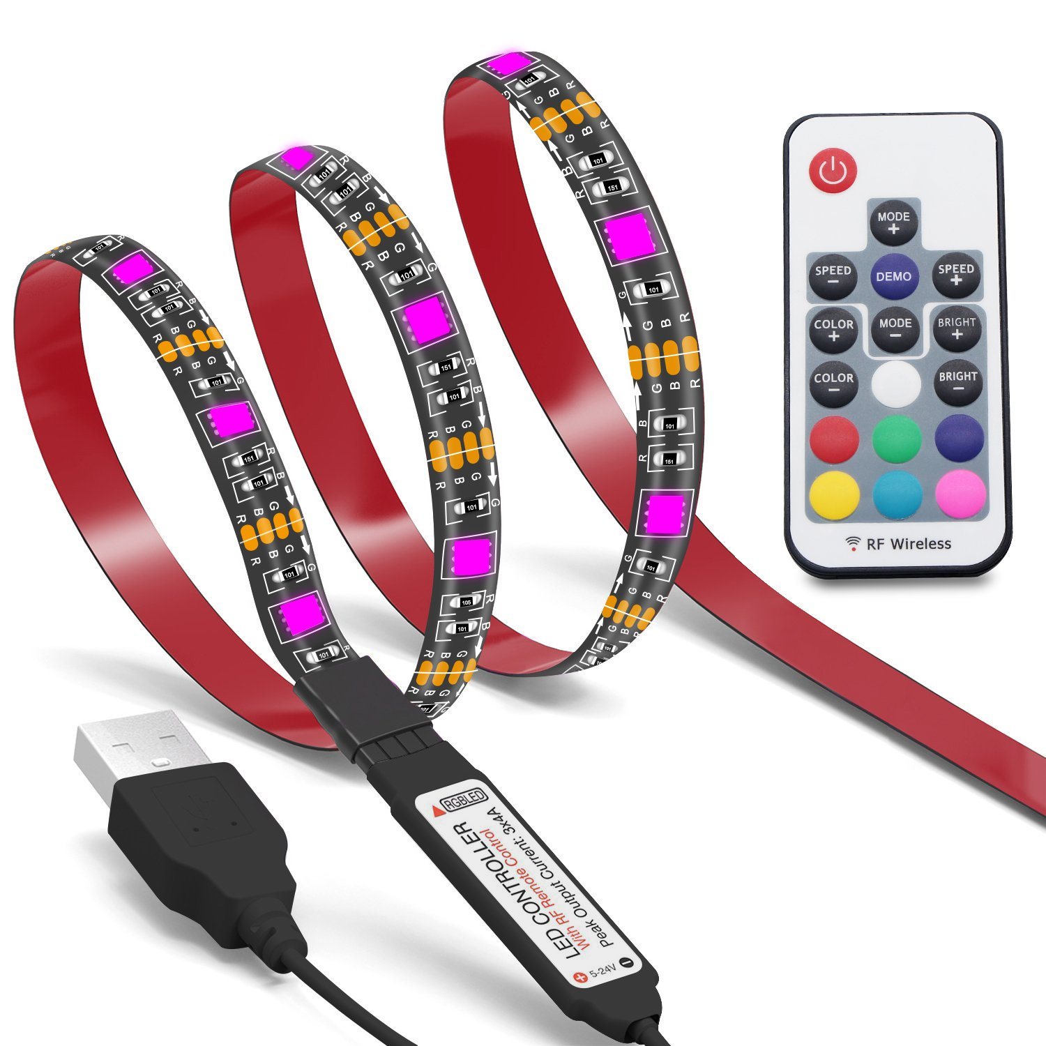 Colohas Bias Lighting TV Backlight for HDTV LED Strips Led Lights with Remote Control,78 inch 6.6ft RGB LED Strip Home Multi Color RGB LED Neon Accent TV Lighting for Flat Screen TV Accessories, Desktop PCable For Flat Screen TV, Desktop PC, Neon Sign Deco