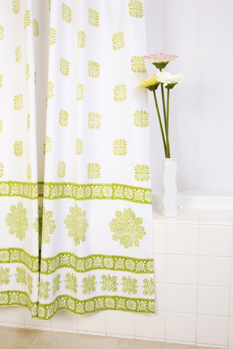 Green Country Style Hand Block Printed Bohemian Indian Fabric Decorative Shower Curtain