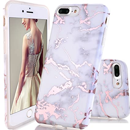 IPhone 7 Plus CaseiPhone 8 CaseDOUJIAZ Shiny Rose Gold White Marble