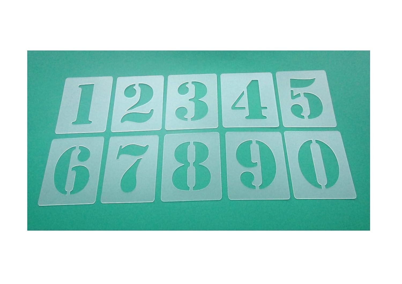 Zahlenschablone Nr.05 | Zahlenhö he 4cm | 1 Satz Zahlen 0-9 | 10 einzelne Schablonen | Malerschablone | Wandschablone HBM-SCHABLONENSHOP