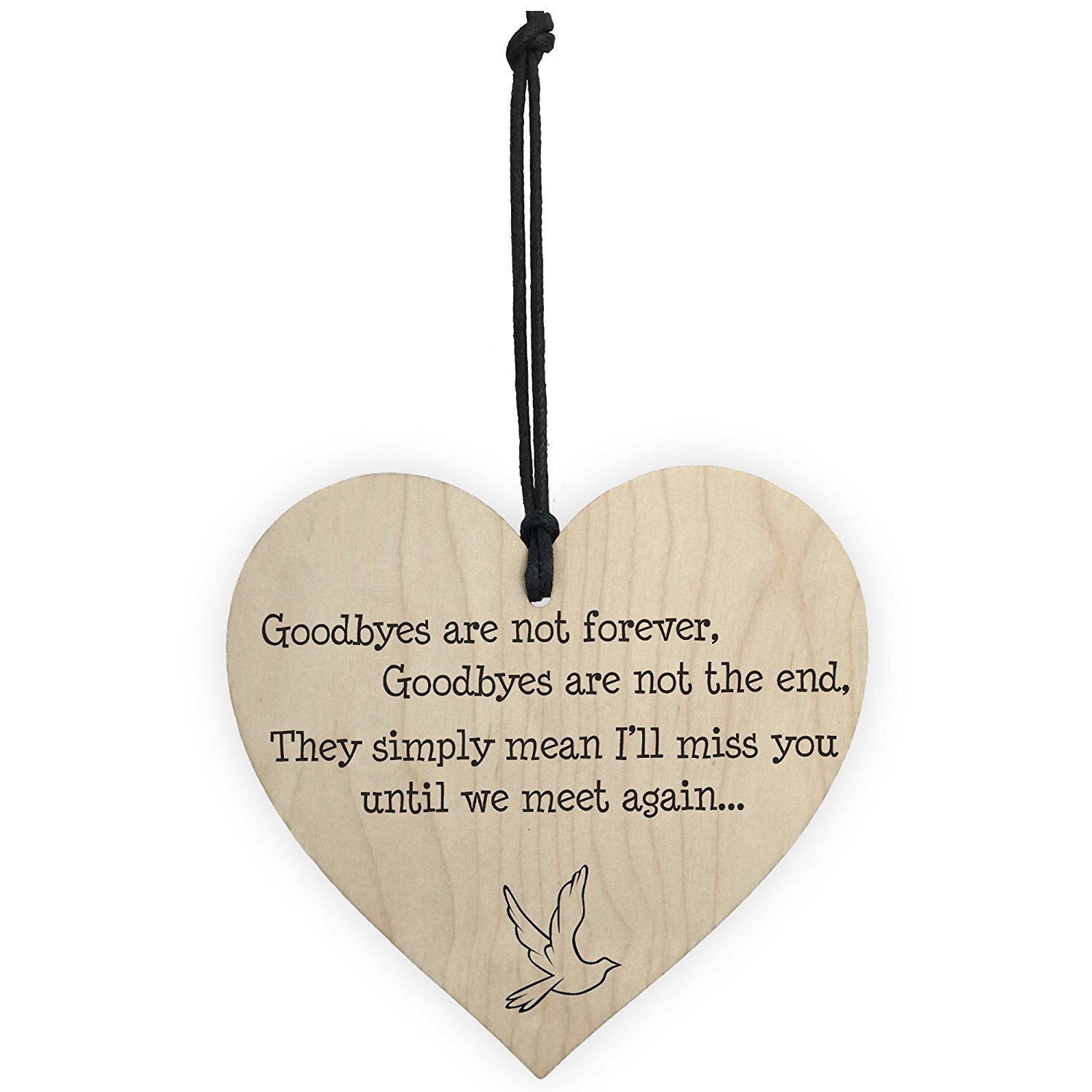 TOOGOO(R) Goodbyes Are Not Forever Wooden Hanging Memorial Heart Plaque Heaven Gift Sign