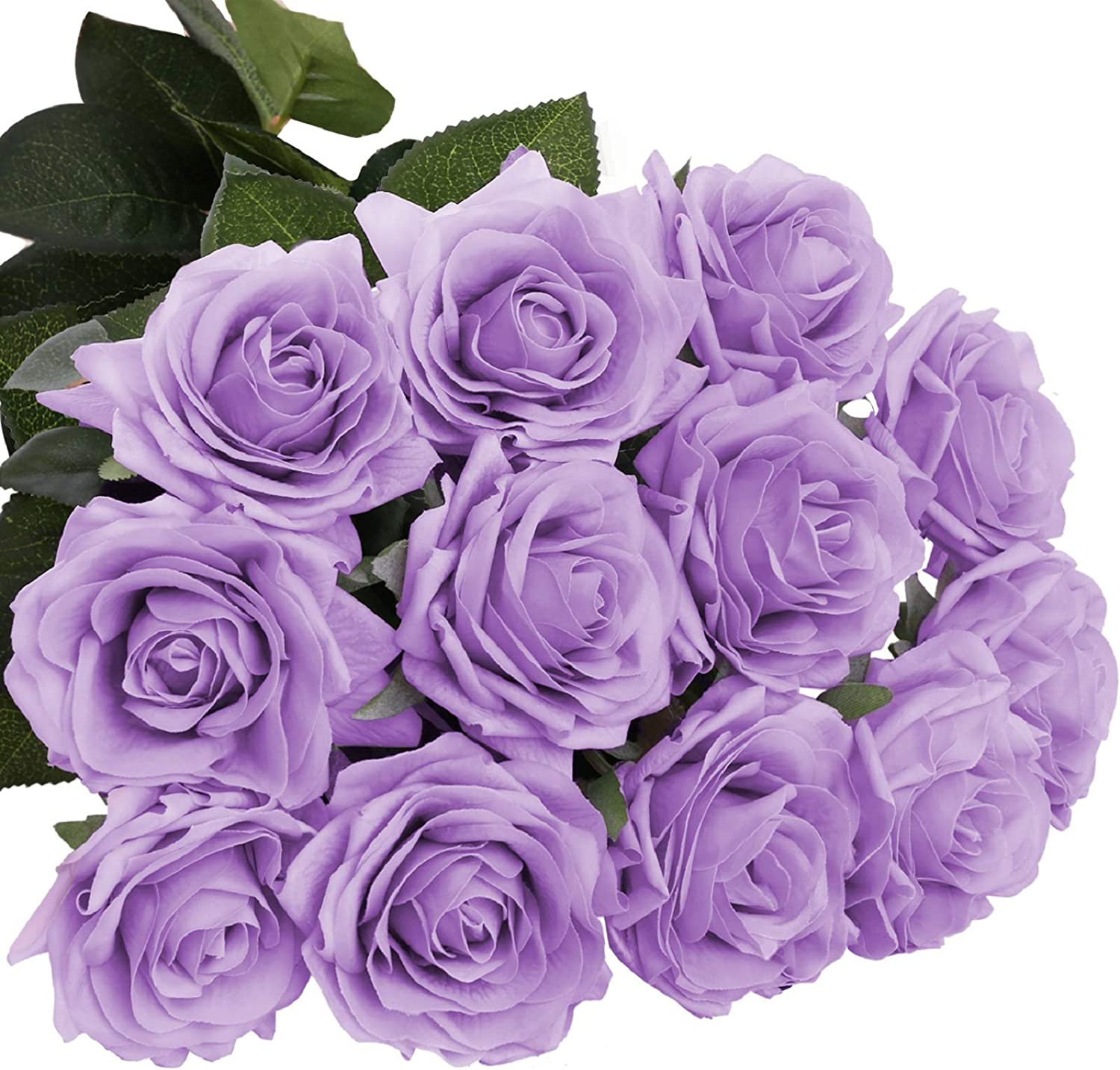 DIGIROOT Artificial Flowers Fake Rose, 12pcs Real Touch Silk Rose Flowers DIY for Wedding, Party and Home Decoration, Purple