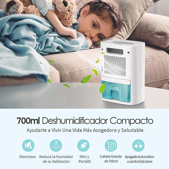 IKICH Deshumidificador Portátil Eléctrico, Mini Deshumidificador,250ml/día, Auto-Apagado,700ml, Deshumidificador Silencioso, 25dB,Bajo Consumo con 35W, ...