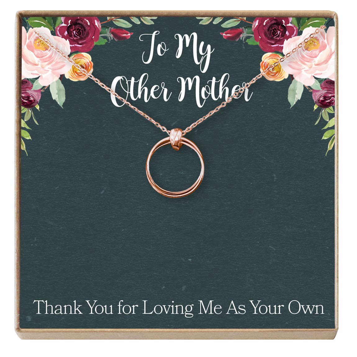 Dear Ava Stepmom Gift Necklace: Adopted Mum, Mother Figure, Foster Mom, Stepmother, 2 Linked Circles NA)