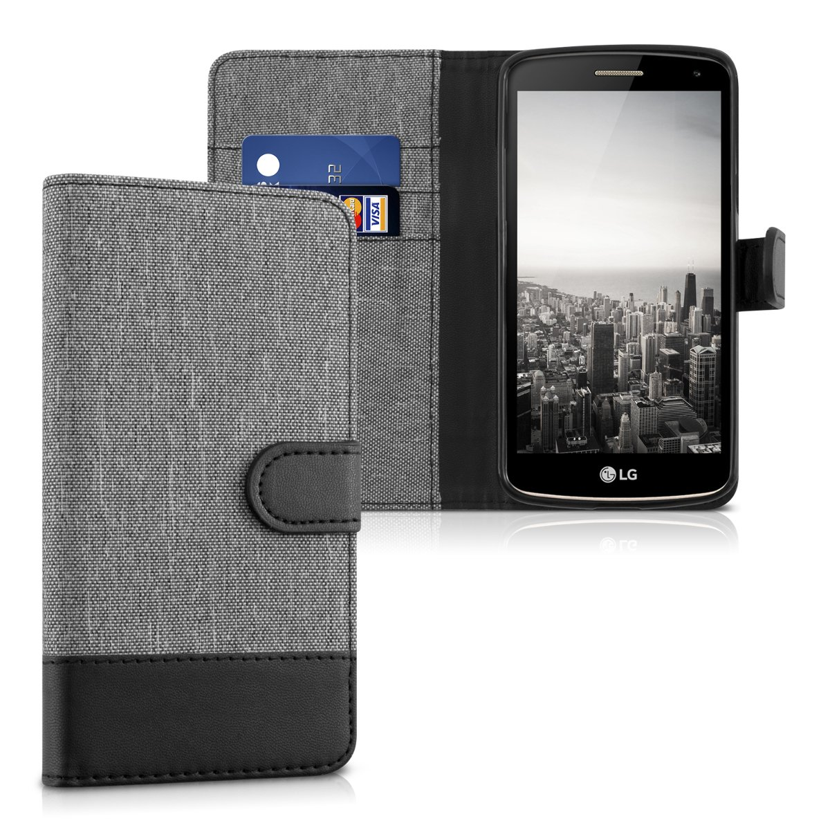 kwmobile Funda para LG K5 - Carcasa de Tela y [Cuero sintético] - con Tapa y [Tarjetero] [Gris/Negro]