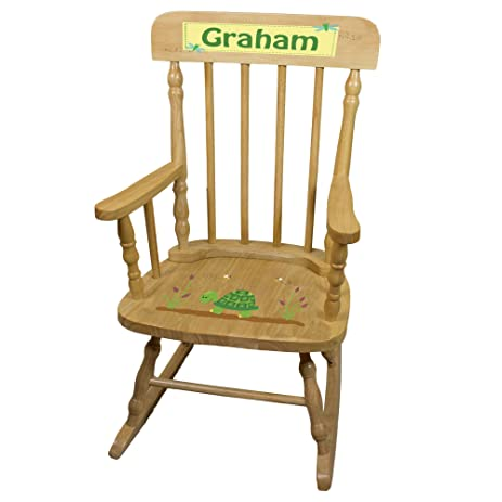 Personalized Turtle Wooden Childrens Rocking Chair