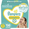 Pampers Swaddlers Disposable Diapers Size 1, 198 Count, ONE MONTH SUPPLY (Packaging and Prints May Vary)