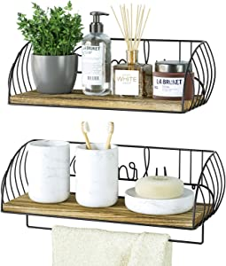 Alsonerbay Bathroom Wood Shelves with Towel Bar Set of 2, Wall Mounted Floating Storage Shelf, Rustic Solid Wooden Decor for Kitchen, Living Room, Bedroom, Carbonized Black