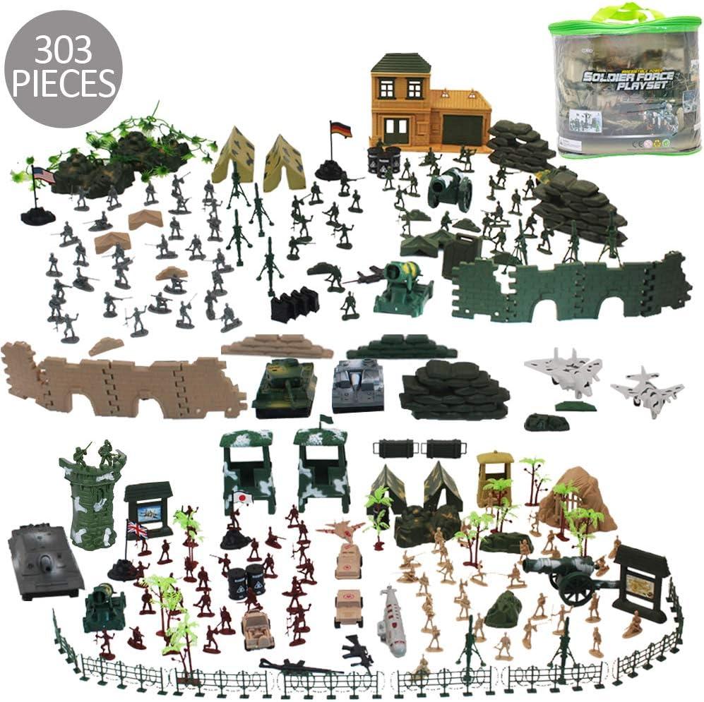 deAO Soldados en Batalla Fuerzas Armadas Unidad de Defensa Militar Conjunto de 303 Piezas Incluye Figuras de Acción Coleccionable, Vehículos, Artillería y Accesorios