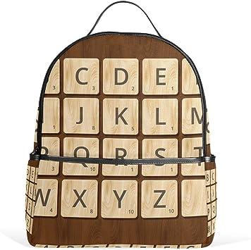 Scrabble - Mochila de Lona con diseño de Alfabeto en Fondo de Madera, Mochila Escolar, Mochila de Lona de Gran Capacidad, para niños, niñas, niños y Estudiantes: Amazon.es: Equipaje