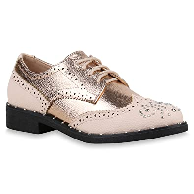 6416a2e800 Damen Schuhe Halbschuhe Brogues Nieten Metallic Schnürschuhe Leder-Optik  156243 Rosa 36 Flandell