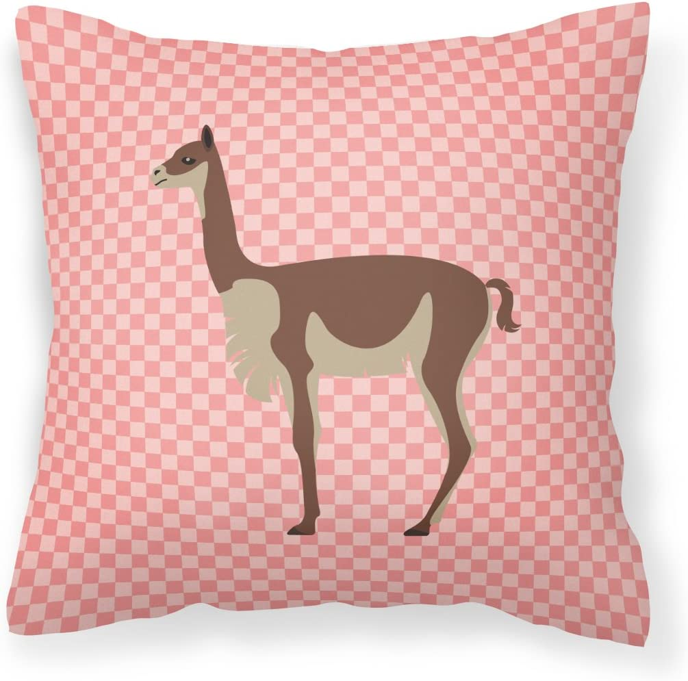 Amazon Com Caroline S Treasures Bb7917pw1414 Vicugna Or Vicuna Pink Check Outdoor Canvas Fabric Decorative Pillow 14 X 3 X 14 Garden Outdoor