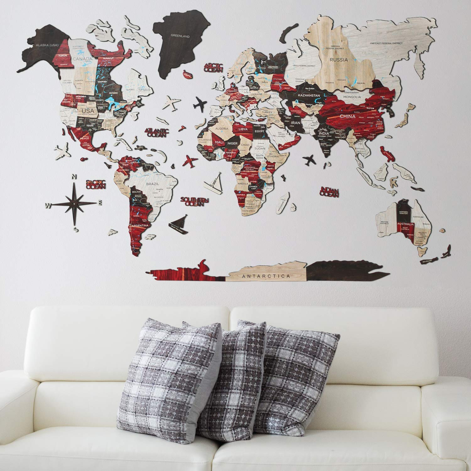 Home Decor 3D Wood World Map URBAN color Wall Art. Large Wall Decor - World Travel Map All Sizes (M,L,XL,XXL). Any Occasion Gift Idea - Wall Art For Home & Kitchen or Office