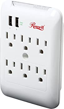 Rosewill 6-Outlet Surge Protector with 2 USB Charging Ports
