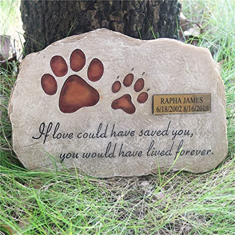 Aveena Paw Prints Pet Grave Markers Personalized Pet Memorial Stones For Dogs Or Cats Resin