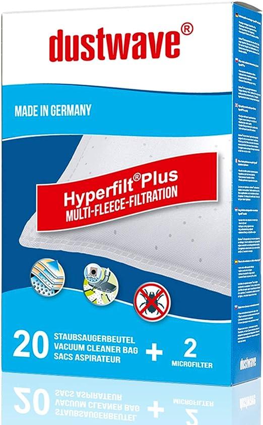dustwave – 20 bolsas de filtro de polvo, bolsas de filtro para aspiradoras Panasonic – MC-E 960 hasta 989 – Fabricado en Alemania + Incluye microfiltro: Amazon.es: Hogar