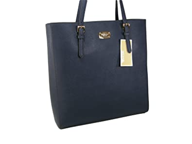 d1d83ba1dfcd Amazon.com  New Michael Kors MK Logo Purse Large Tote Genuine Leather Jet  Set Navy Blue Bag  Shoes