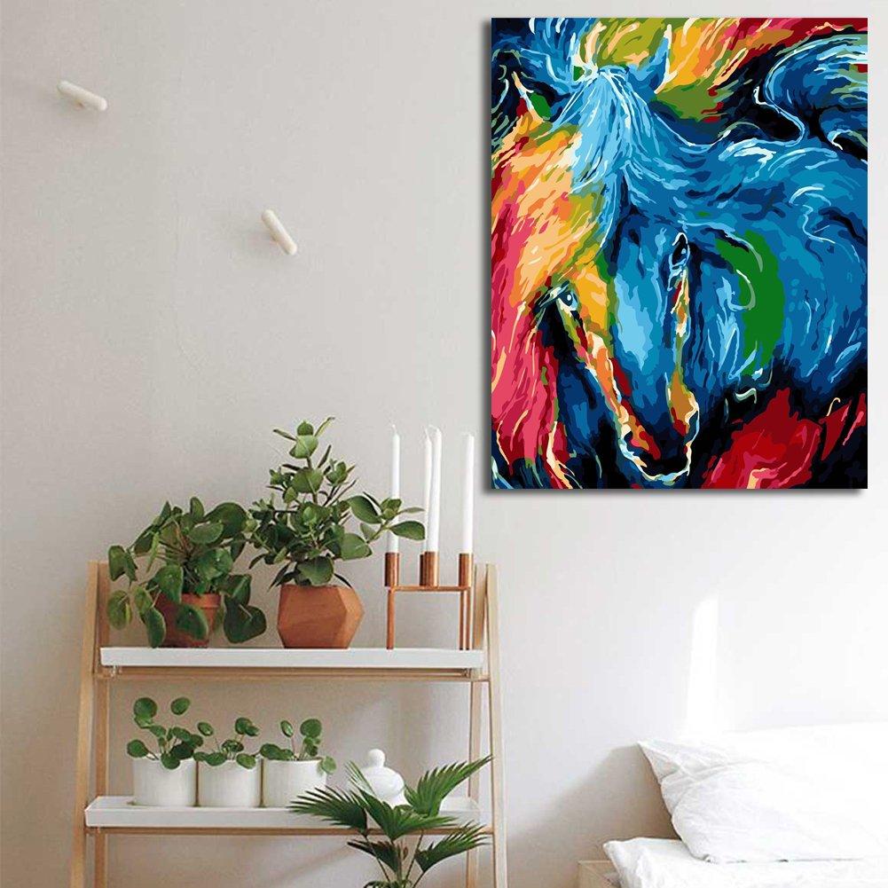 Paint by Numbers DIY Pittura ad olio Brown Cavalli Fiori Stampa su tela arte Muraria Decorazioni per la casa senza Cornice di Rihe