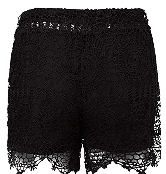 Qd Caca Womens Summer Beach Shorts Solid Shorts Lace Crochet Shorts