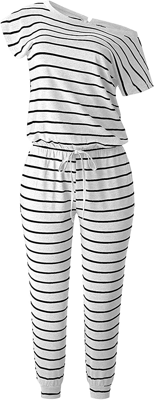 MILLCHIC Womens Jumpsuit Crewneck One Off Shoulder Short Sleeve Elastic Waist Romper Playsuits with Pocket