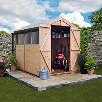 7x5 BillyOh Tongue And Groove Wooden Shed ♢ Window ♢ Double Door ♢ Apex  Roof U0026