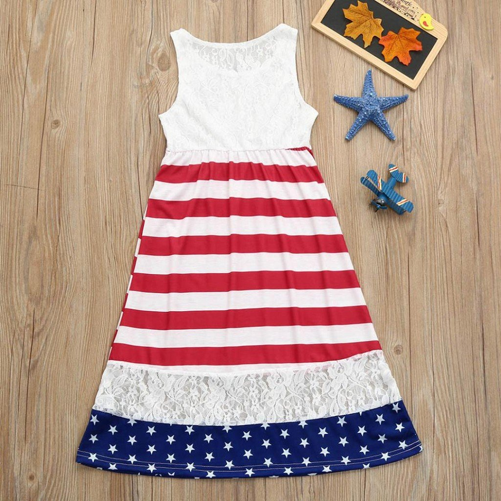 9a8ec405af3 ... Creazrise Baby Girls Sleeveless American Flag Dress 4th of July Stars  Striped Lace Sundress 10T ...