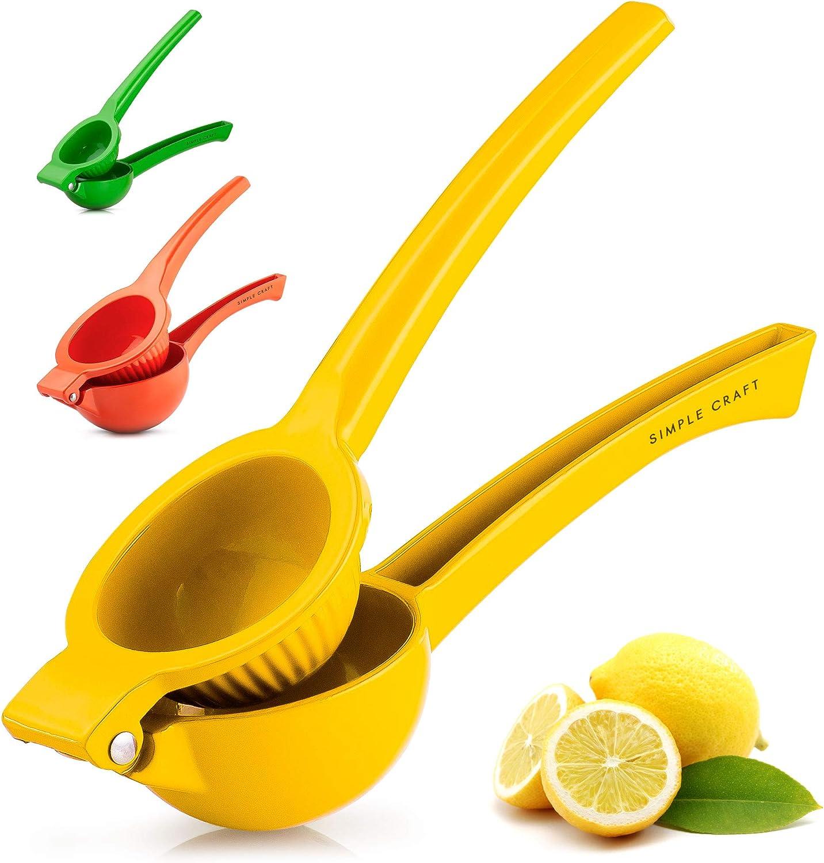 Simple Craft Lemon Squeezer - Premium Single Bowl Citrus Juicer - Handheld Manual Lemon Juicer Saves Time & Effort (Yellow)