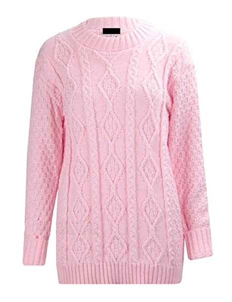 934e2cc9f6b1 Womens Ladies Chunky Cable Knitted Long Sleeve Pullover Jumper ...