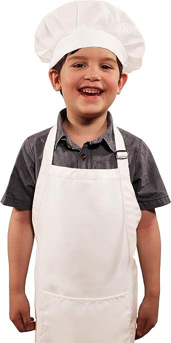 Blanco Ajustable Delantal Infantil con 2 Bolsillos para Ni/ños Ni/ñas Ni/ñito Delantales de Cocina de Chef para Cocinar Hornear Pintar Artesan/ía WEONE Ni/ños Delantal y Gorro de Cocinero 7-13 A/ños