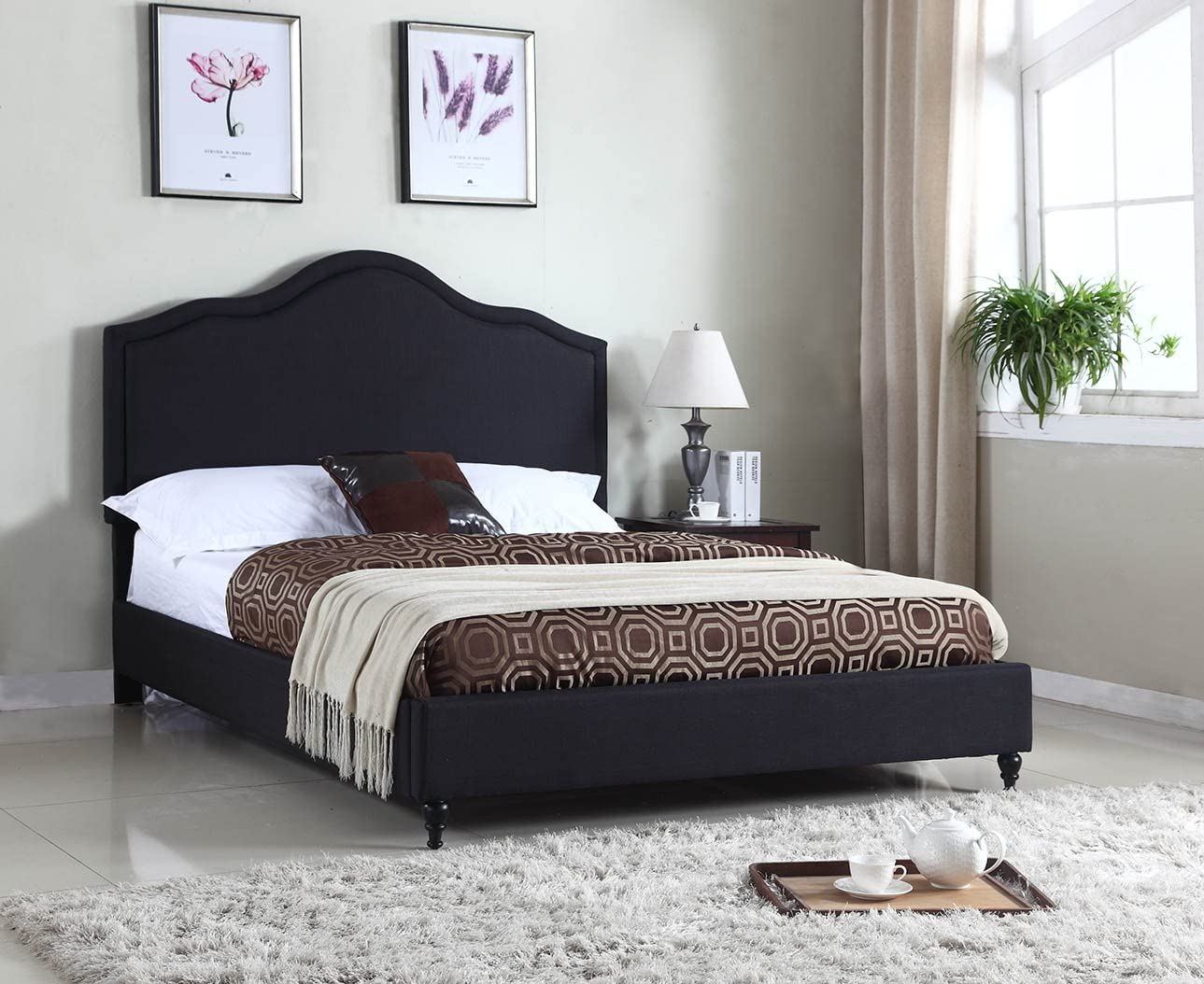Home Life Cloth Black Linen 51 Tall Headboard Platform Bed with Slats Queen – Complete Bed 5 Year Warranty Included 009