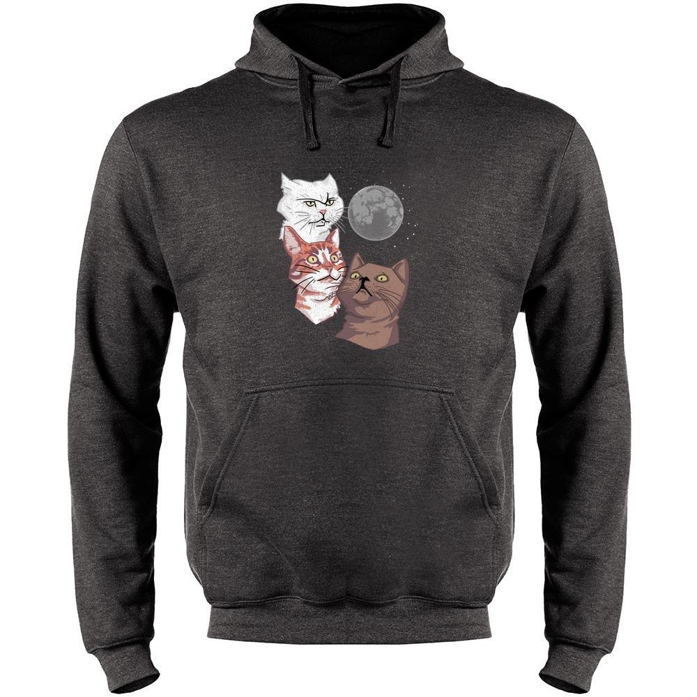 Three Cat Moon Funny Wolf Parody Mens Fleece Hoodie Sweatshirt