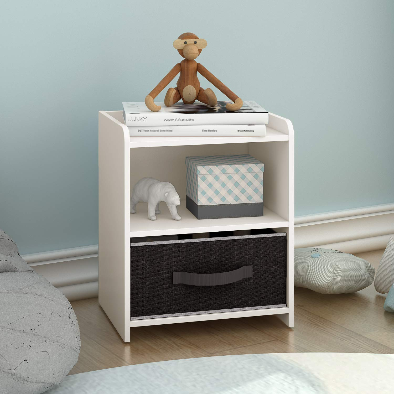 DEVAISE Wood Nightstand Organizer/Bedside Table with Storage Shelf for Bedroom, White by DEVAISE