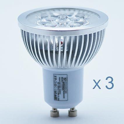 3 x Bombilla Lámpara LED GU10 5W Foco Luz Blanco Frío AC 220V-240V