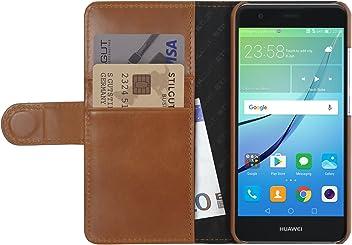 StilGut Talis, housse Huawei nova avec porte-cartes en cuir véritable. Etui portefeuille à ouverture latérale et languette magnétique pour Huawei nova, Cognac