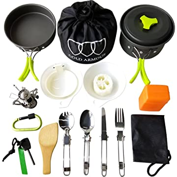 best Gold Armour 17Pcs Camping Cookware Mess Kit Backpacking Gear & Hiking Outdoors Bug Out Bag Cooking Equipment Cookset reviews