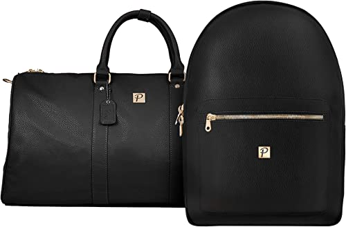 Packs Project – Gramercy Travel Bag Set 2 Piece Set Includes Overnight Duffel Bag Backpack Airline Carry-On Luggage Approved Vegan Leather with Gold Metal Zippers, Black