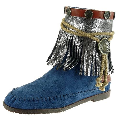 33a923d9e Angkorly - Zapatillas Moda Botines Botas Mocasines Mujer Fleco Tanga  metálico Tacón Ancho 1.5 CM - Azul M885 T 41  Amazon.es  Zapatos y  complementos