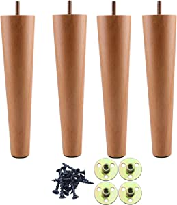 Wooden Chair Legs 10 inch, Round Solid Wood Furniture Feet, Sofa Legs Set of 4, Replacement Couch Legs for Armchair, Cabinet, Mid Century Modern Dresser Or Home DIY Projects Bun Feet