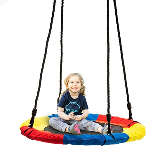 wonline 24 Flying Saucer Tree Swing, 330lb Weight Capacity, Indoor Outdoor Round Mat Swing for Kids