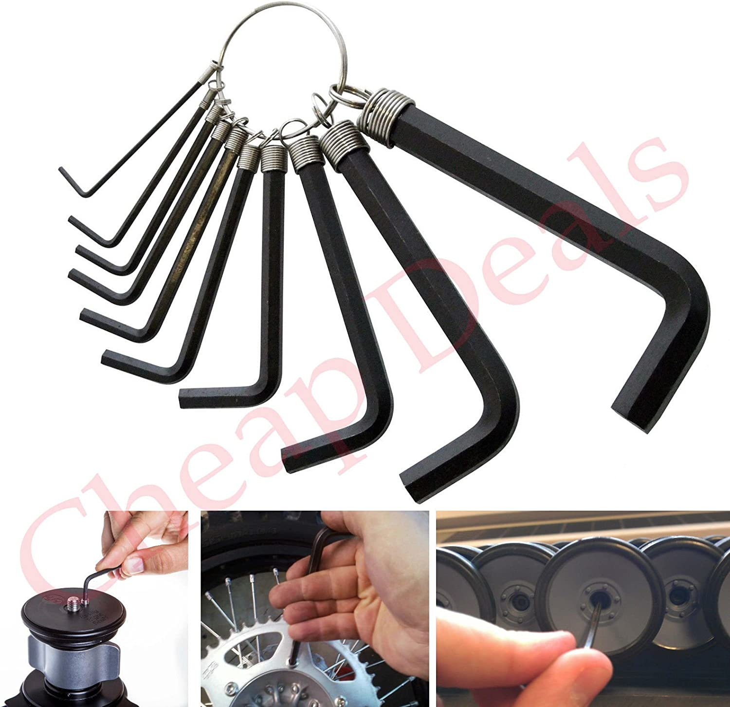 SystemsEleven 10PC METRIC HEX ALAN KEY WRENCH SET 1.5mm To 10mm WITH NEW ALLEN KEY RING
