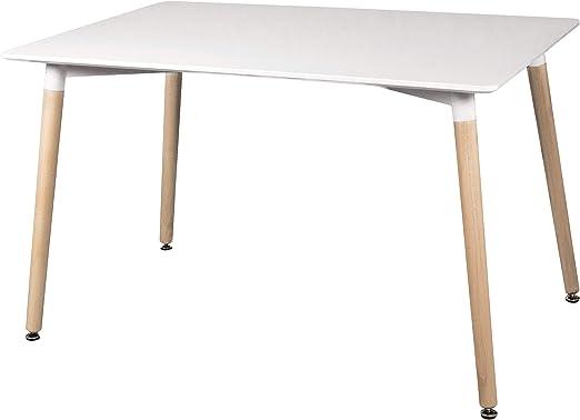 duehome - Mesa de Comedor, Mesa Rectangular Fija, Mesa de Salon, Cocina o Comedor, Estructura en madera,
