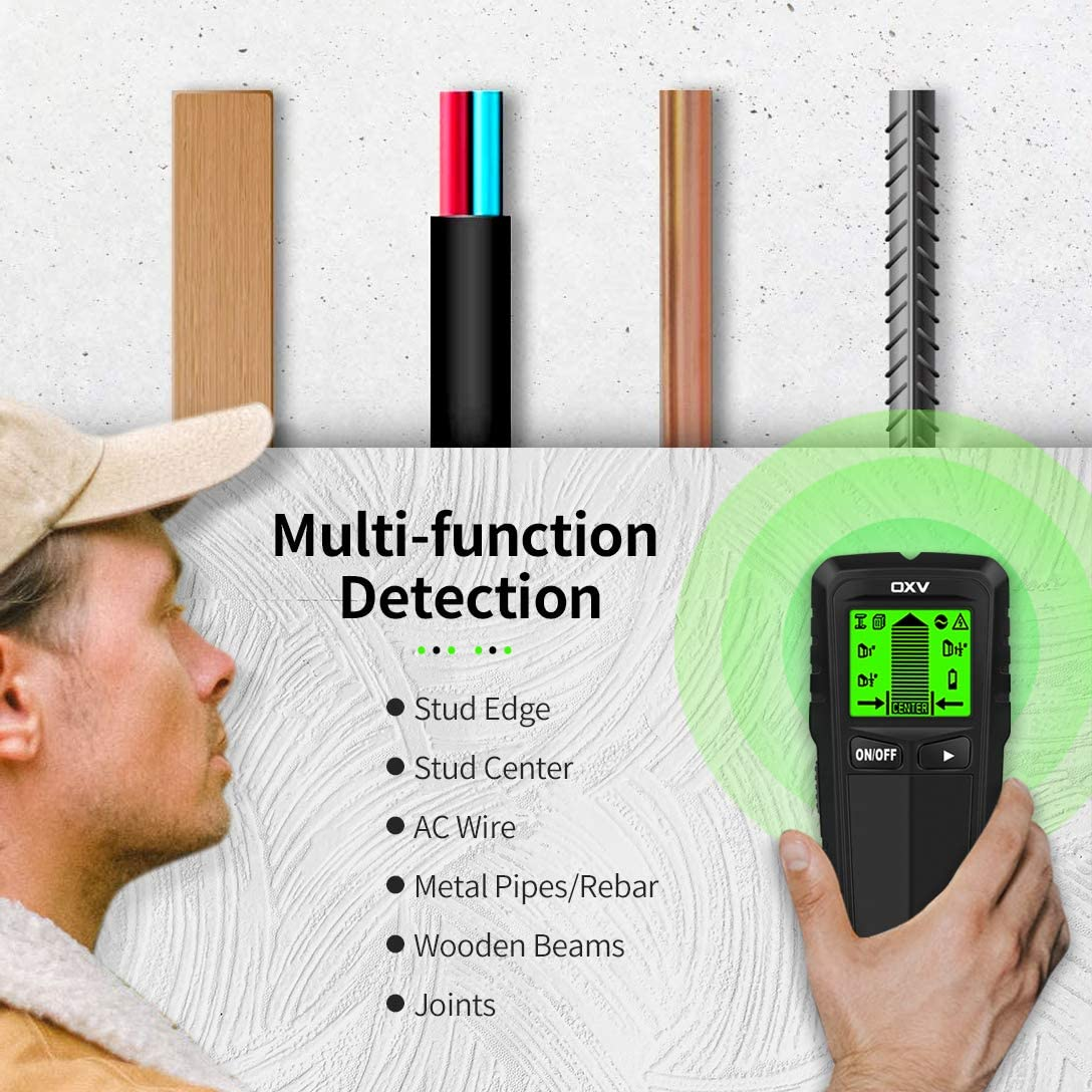 Improved 5 in 1 Sensor Wall Scanner for Wood AC Wire Metal Studs Detection with LCD Display,Audio Alarm and Battery OXV Stud Finder Wall Scanner
