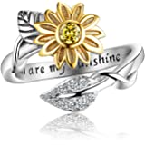 AILAAILA You are My Sunshine Sunflower Ring Stainless Steel Adjustable Cubic Zirconia Jewelry Size 4-10