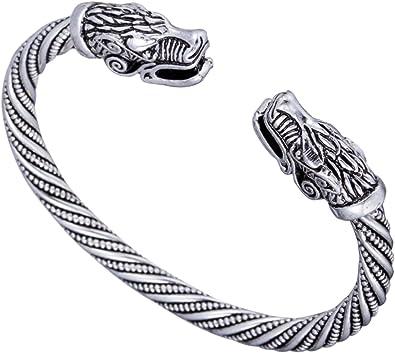 Silver Wolf Head Bracelet Vintage Viking Norse Bangle Men Wristband Cuff Jewelry