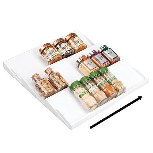 mDesign étagère à épices pour le tiroir en plastique – range épices amovible à 3 niveaux pour sel, poivre, etc. – accessoire de cuisine pratique pour tiroir et armoire – blanc