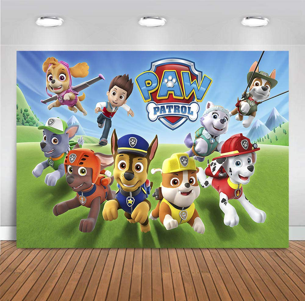 MMY 7x5ft Cartoon Dogs Paw Patrol Photography Backdrop Baby Shower Kids Birthday Party Background Photobooth Props Vinyl Banner Supplies