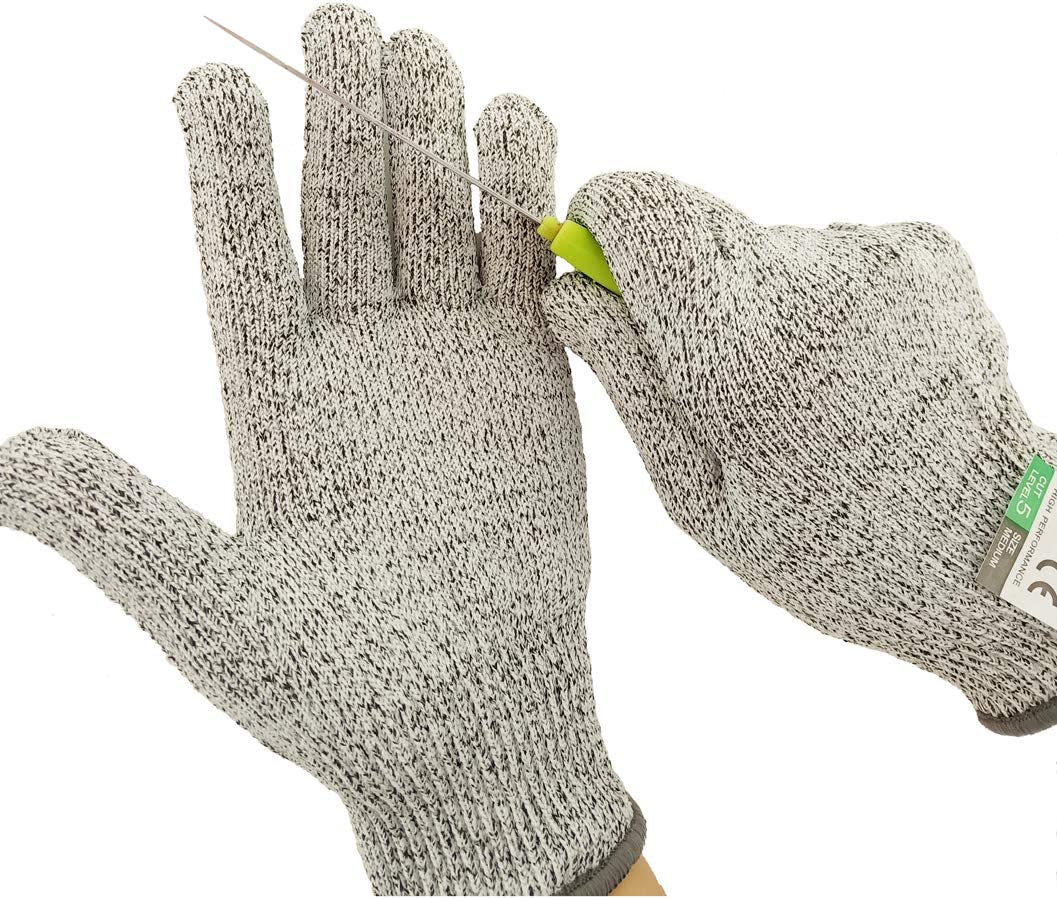 Cut Resistant Gloves, Food Grade, Level 5 Protection, Safety Protection anti cutting gloves for Wood Carving, Kitchen S,M,L (Small)