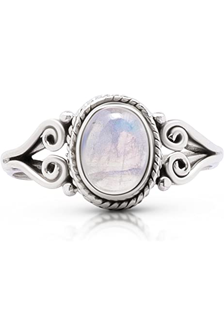Details about  /Size 8 1//2 Size 8.5 Oval Celtic Rainbow MOONSTONE Ring 925 STERLING SILVER #316