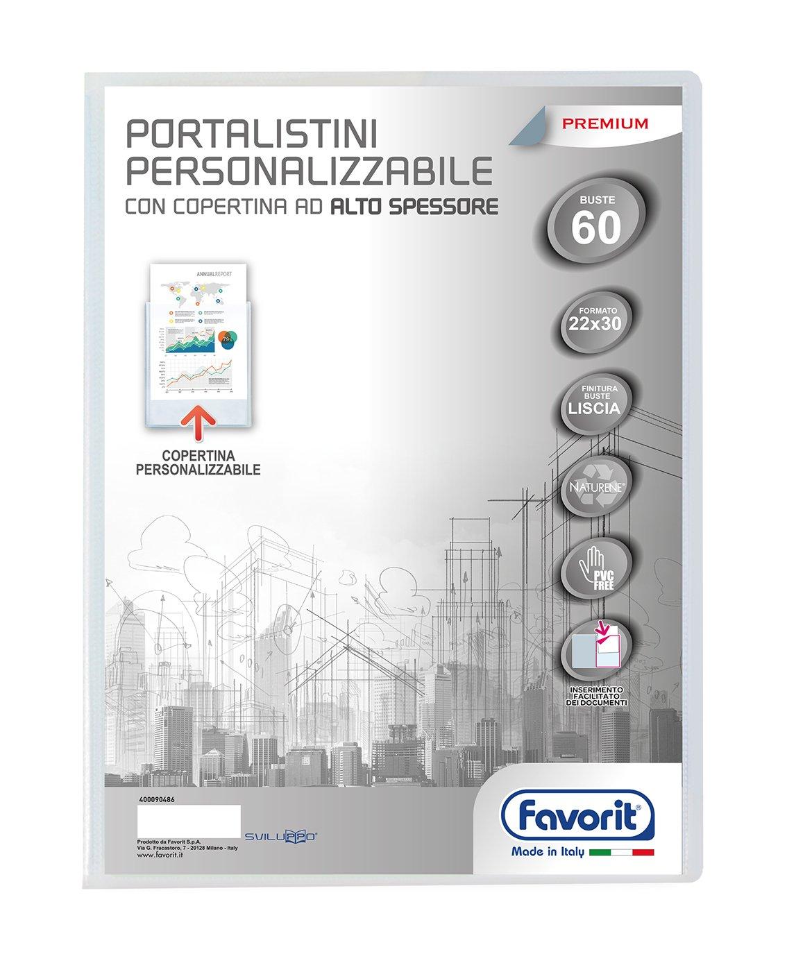 Favorit 400090487 Portalistino Personalizzabile Premium con 80 Buste lisce, Formato Interno 22X30 cm, Copertina ad alto spessore, Trasparente Hamelin Brands